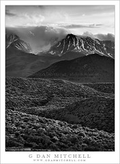 Clearing Storm, Eastern Sierra Nevada (G Dan Mitchell) Tags: california travel light sky blackandwhite usa lake snow storm mountains field clouds forest landscape mono evening spring high desert south nevada hill stock scenic crest sage sierra valley yosemite eastern range tufa cirque atmospheric slope flurry clearing gully escarpment recession induro