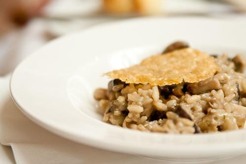 Forest mushroom Risotto, parmesan crisp & truffle vinaigrette