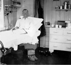 Tuberculosis Patient in a London Area Isolation Hospital Ward - circa 1950s (Lenton Sands) Tags: room patient tuberculosis londoner isolationhospital