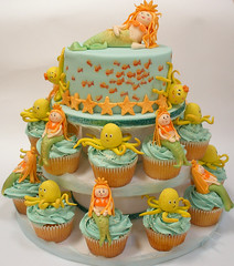 Underwater cupcake tower and cake (neviepiecakes) Tags: orange aqua underwater starfish octopus mermaid gooseberry fondant buttercream elderflower