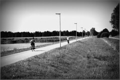 Where does this road go to? (Julka2009...(mostly off)) Tags: trees light bw sun white black grass landscape cyclist path thenetherlands lanterns brabant bikers abigfave nikond90 homersiliad expressyourselfaward