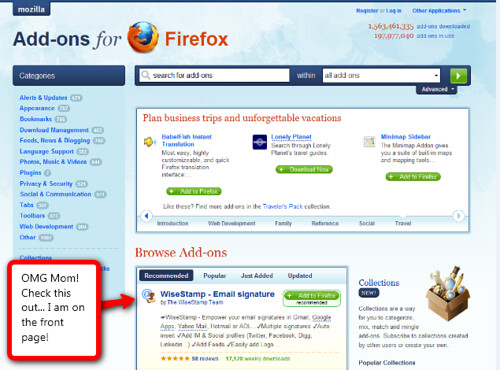 WiseStamp top recommended Firefox addon list on Mozilla