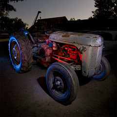 Dirt Worker (Lost America) Tags: tractor lightpainting ford abandoned night fullmoon junkyard nocturnes 8n thebigm