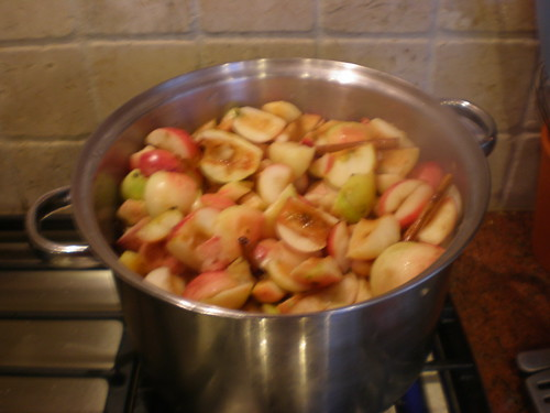 Cored apple halves cooking in the past pot