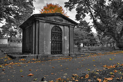 Fall Selective Color (Brandon Godfrey) Tags: selective color monochrome fall leaves victoria british columbia canada vancouver island rossbaycemetery path colours orange tomb graves graveyard cemetery shed houston fairfeild hdr highdynamicrange tonemapped tonemapping photomatix bw blackandwhite sonya300 autumn 2009 amazing outstanding pictures photos images pics fantastic shots photo picture shot alpha dslr dslra300 sony a300 creativecommons photography earth world scenery landscape scene northamerica pacificnorthwest