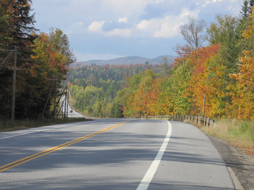 Route 30, between Long Lake and Tupper Lake, from the saddle of a bike