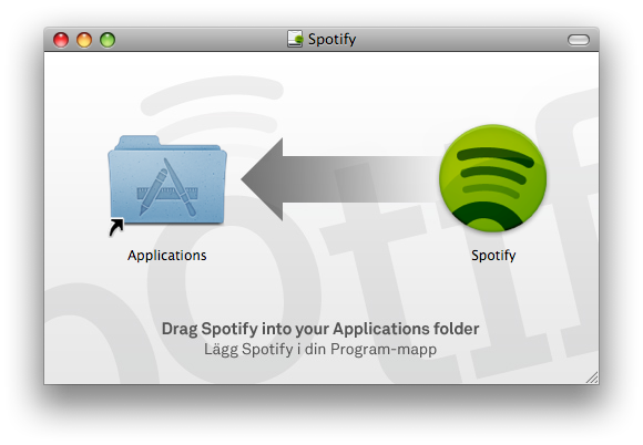 Screenshot of the previous Spotify disk image