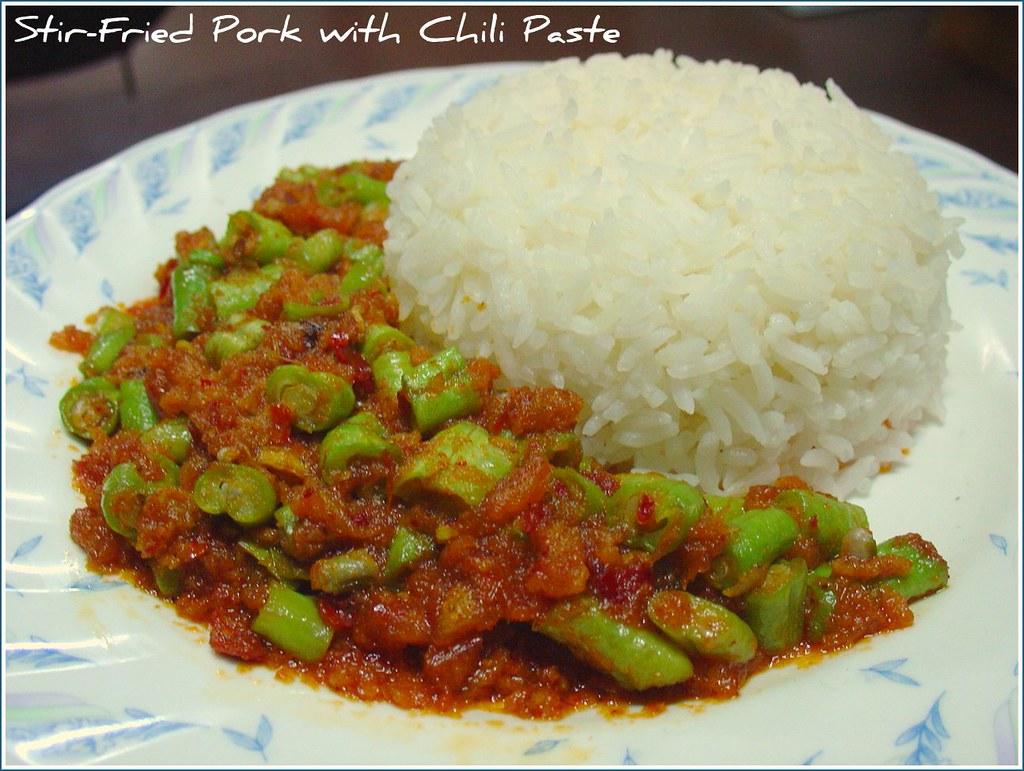 Stir-Fried Pork with Chili Paste and Jasmine Rice..e..e...