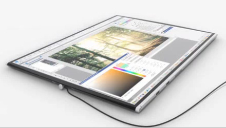 Rollable laptop flat view