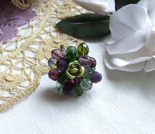 Purple & Green...flower ring