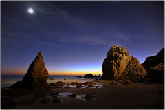 The Moony Experience (Extra Medium) Tags: ocean longexposure sunset moon beach twilight rocks surf elmatadorstatebeach titlecomesfromabookiwrotewheniwas11
