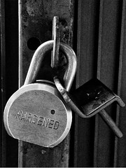 Day 345 - Hard Life (saebaryo) Tags: bw canon blackwhite gate lock s90 project365 365project canons90