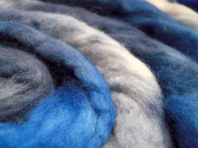 south african fine wool roving silver blue hand dyed by TreasureGoddess