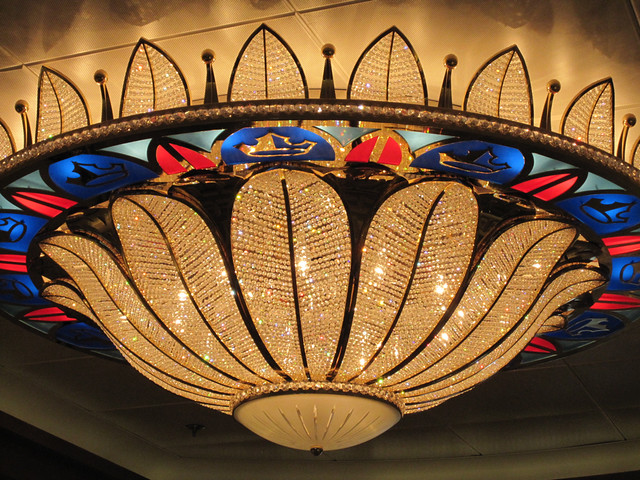 One of the awesome chandeliers on board
