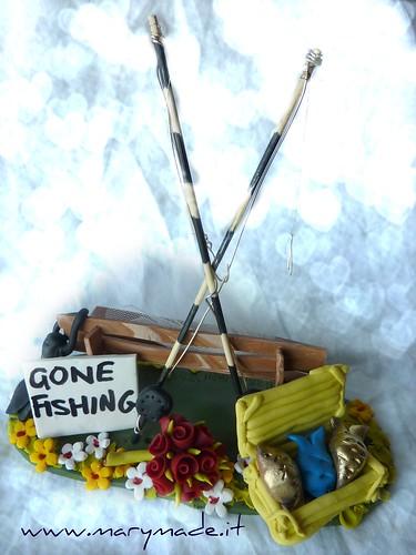 Cake Topper sposi appassionati di pesca: sono andati a pescare!