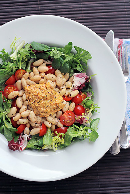Cannellini Beans, Tomatoes and Hummus