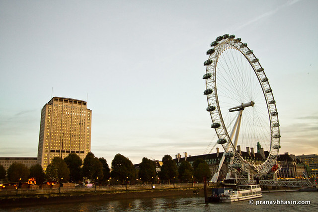 Cruising Past London Eye In Evening
