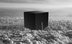 Cube (happiness is...photography) Tags: cube ladder black white blackandwhite clouds above