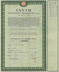 INVIM - INVESTIMENTI IMMOBILIARI S.P.A. (scripofilia) Tags: 1975 azioni immobiliari investimenti investimentiimmobiliari invim