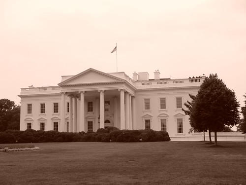The White House, in sepia.