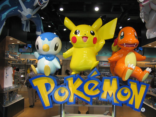 Image: Flicker CC Pokemon via 'search for images on FlickerCC '. The attribution comes from 'Piplup, Pikachu and Charmander welcome you into+the+store'