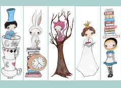 Alice In Wonderland Bookmarks (the poppy tree) Tags: girls white tree cute rabbit bunny art clock girl illustration fairytale cat print reading book kitten cheshire tea drawing alice books story cups gift labels madhatter stacked whimsical queenofhearts bookplates