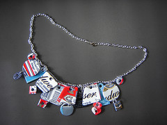 """Bing Necklace 2"" made of Recycled Aluminum Cans ~ 1 of 2 photos (Urban Woodswalker) Tags: beer fashion advertising typography graphicdesign necklace colorful graphic recycled creative craft jewlery jewelery charms consumerism branding artisan repurposed ecoart upcycled aluminumcans trashion iconagraphy urbanwoodswalker crafting365daysayear budwiedser midwesternartist maenriquez maryanneenriquez"