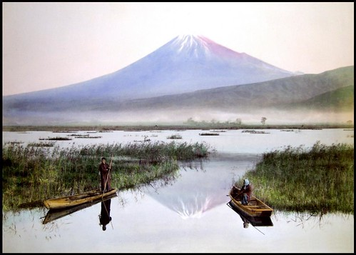 MOUNT FUJI  SEEN FROM THE MARSHES OF KASHIWABARA in OLD JAPAN