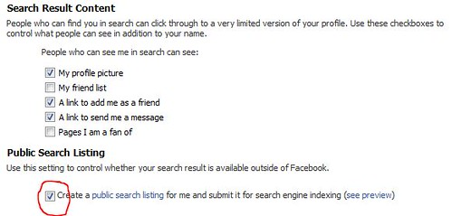 Facebook public search listing privacy options
