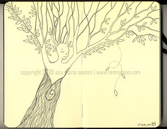 072309 Dryad (renmeleon) Tags: tree art moleskine leaves illustration pen ink paper design leaf drawing spirit earth journal sketchbook ria seaton dryad journaling renmeleon renfolio