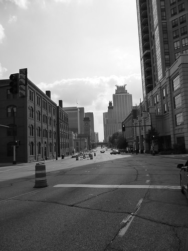 Downtown Minneapolis from car window