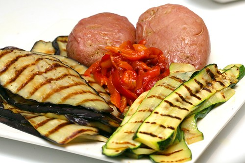Grilled vegetables, mise en place