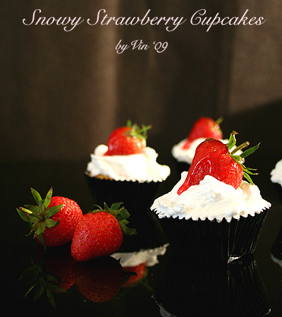 Snowy Strawberry Cupcakes