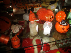 Mr Pumpkin and Halloween Witch 0288 (Brechtbug) Tags: santa christmas sleeping party holiday halloween vintage season pumpkin toy other with candy mr witch like shelf plastic claus favors containers