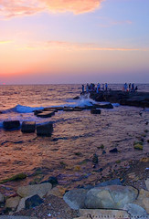 Beautiful sunset colors (Abdullah.N.KH) Tags: ocean sunset sea portrait abstract building nature colors smile silhouette sunrise canon landscape sadness waves 300d desert natural happiness wideangle nassir abdullah oldhomes  khamees 5dmark2 mark|| abdullahnasser