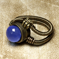 Steampunk Jewelry - RING - Cobalt Blue Chalcedony - 8 (Catherinette Rings Steampunk) Tags: canada fashion metal wire punk artist industrial mechanical quebec designer handmade montreal unique daniel jewelry steam ring jewellery rings copper bead sciencefiction organic etsy artisan steampunk neovictorian proulx catherinetterings danielproulx