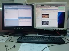 Dual monitor setup at work