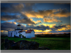 Sunrise at Point No Point Lighthouse HDR (Fresnatic) Tags: ocean usa lighthouse beach photoshop washington seascapes coastline pugetsound hdr cloudscapes photomatix lighthousesoftheworld washingtonlighthouses lightroom2 concordians pacificcoastlighthouses lighthousetrek pointnopointlighthouse lightkeeperaward fresnatic canonrebelsxsi