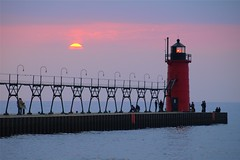 Gentle November (PhotoDocGVSU) Tags: november sunset lighthouse colorful warm lakemichigan greatlakes southhavenmi