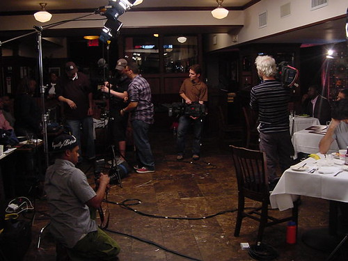 Three cameras (including a steadicam), fully lighting the scene and three interviews can really fill a room.