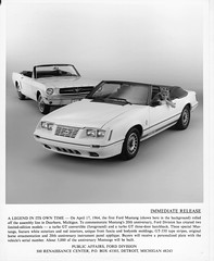 Twenty Years of Mustang (Hugo-90) Tags: auto ford car advertising ad convertible 1984 mustang 1964 presskit gt350 turbogt