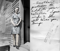 Evelyn Larsen on porch 1945 Scenic, SD (rob.rudloff) Tags: southdakota southerton