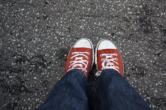 love my chucks (clearlyridiculous) Tags: red shoes converse asphalt chucks