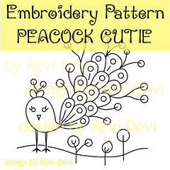 Peacock Cutie (revi1001) Tags: cute bird nature illustration birdie design peacock kawaii etsy whimsical embroiderypattern