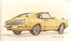 Taunus GT (Flaf) Tags: colour ford water pencil design bottle stuttgart drawing coke mustang gt 1970s taunus hohe wackeldackel strase stuttgartmitte