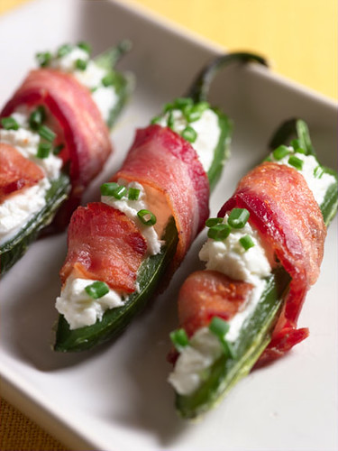 Goat cheese stuffed jalapenos wrapped in bacon!