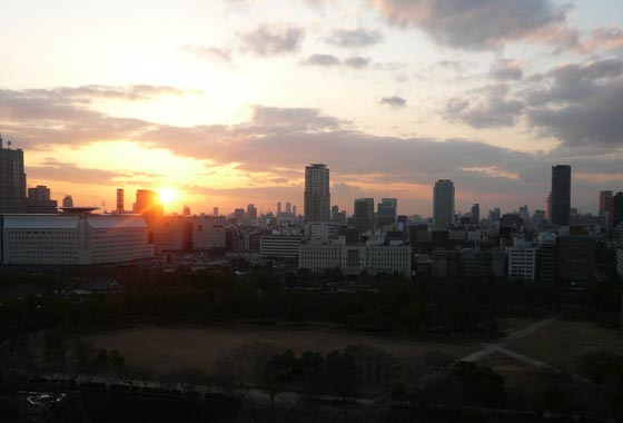 Beautiful sunset over Osaka