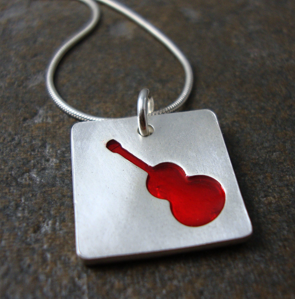 Fine Silver Guitar Necklace