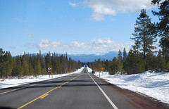 Clear skies. (that crafty girl) Tags: trees winter snow oregon sunriver ontheroad clearskies