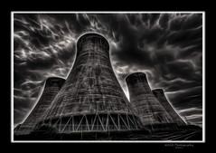 Eggbourgh power Station, Fractalius. (nigelnaturist) Tags: uk sky nature water clouds photoshop powerstation coolingtowers photomatix canon40d fractalius eggbourgh nhbphotography